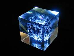 Cube lit by LP3 Light base - blue